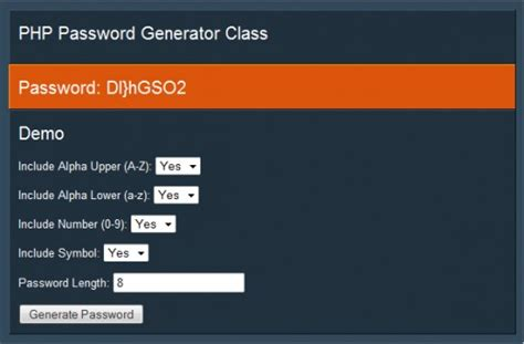 Tutorial Php Form Builder Class   php password generator class tutorialchip