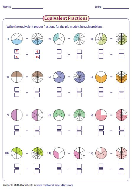 writing equivalent fractions using pie model math pinte