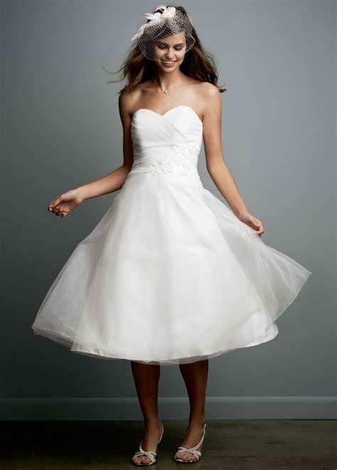 david bridal sle tea length strapless tulle wedding
