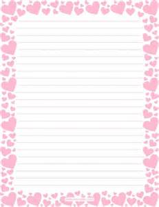 Printable pink heart stationery and writing paper multiple versions