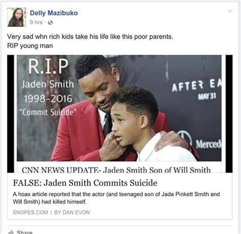 Did Pneumonia Kill Smith by Jaden Smith Still Not Dead Hoax Circulates On