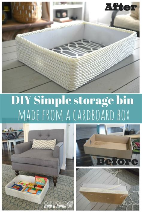 Living Room Storage Diy Creating A Simple Storage Bin Using Rope And A Cardboard