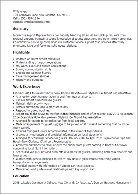 Airport Customer Service Sle Resume by Professional Airport Representative Templates To Showcase Your Talent Myperfectresume