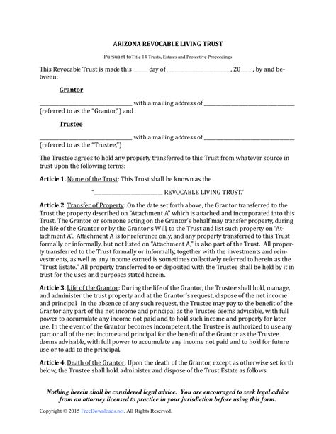 Download Arizona Revocable Living Trust Form Pdf Rtf Word Freedownloads Net Living Will Template Arizona