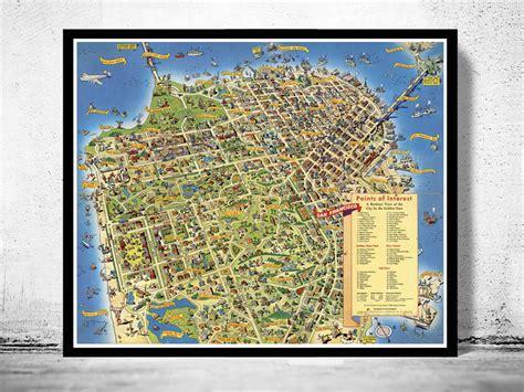 san francisco map points of interest vintage map of san francisco pictorial map points of