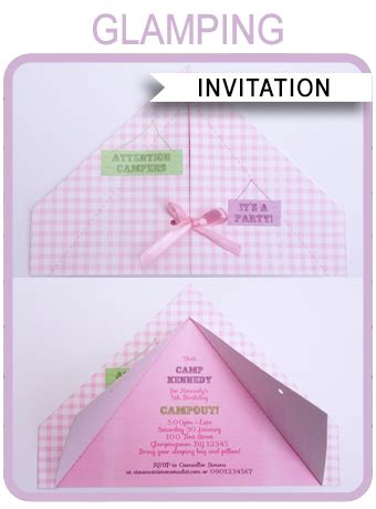 glamping party invitations template birthday party