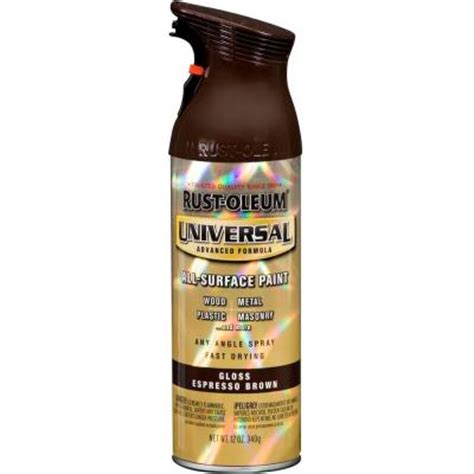 rust oleum universal 12 oz all surface gloss espresso brown spray paint and primer in one