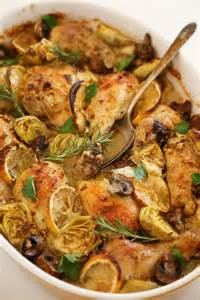Chicken with artichokes and mushrooms makes an easy elegant dinner
