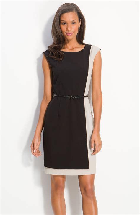 calvin klein belted colorblock sheath dress in black