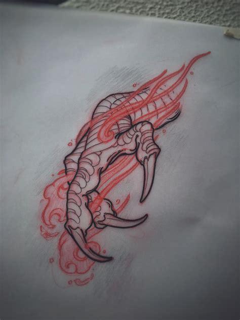 dragon tattoo designs on hand claw sketch by akos perth australia