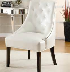 No Arm Chairs Design Ideas Accent Chair Upholstered In White Bonded Leather With Nail Trim Coaster 900283