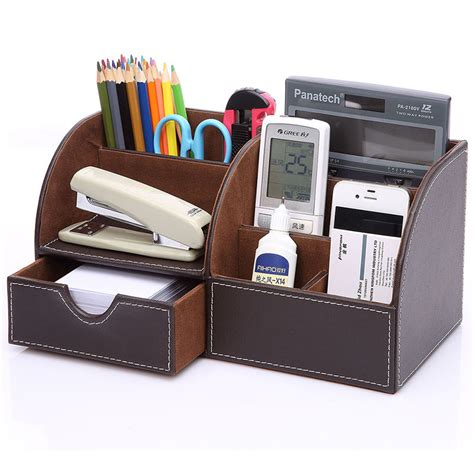 Desk Organizer Box Creasive Leather Desktop Storage Box Make Up Cosmetic Storage Box Desktop Office Stationery