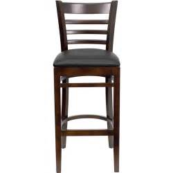 resturant bar stools walnut finished ladder back wooden restaurant barstool with black vinyl seat bfdh 8241wbk bar