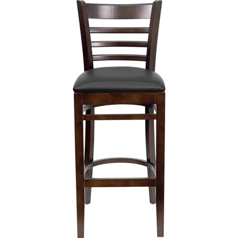 restaurant bar stools with backs walnut finished ladder back wooden restaurant barstool