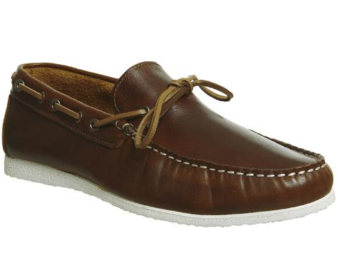 mens ask the missus draft boat shoe brown leather formal shoes