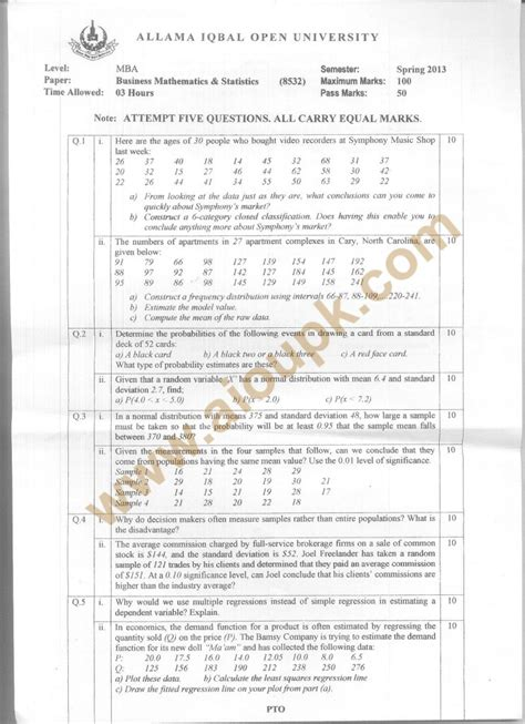 Business Mathematics Book For Mba by Business Mathematics Statistics Code 8532 Mba Aiou