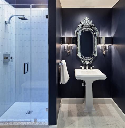 navy blue bathrooms navy bathroom contemporary bathroom holly bender
