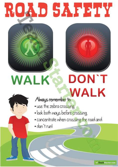 road safety poster crossing the road teaching