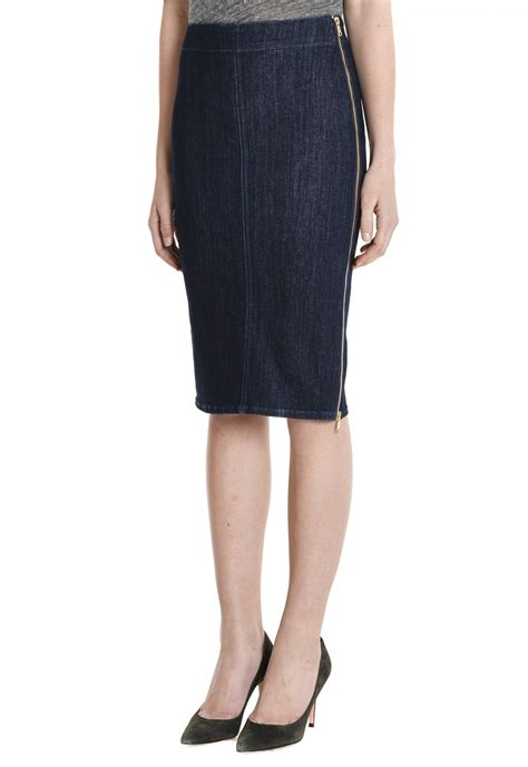 mih the bodycon zipper skirt in blue rinse power