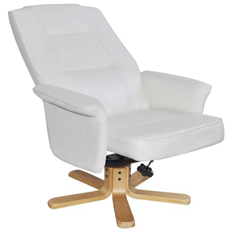 armchair with stool white white artificial leather tv armchair with foot stool