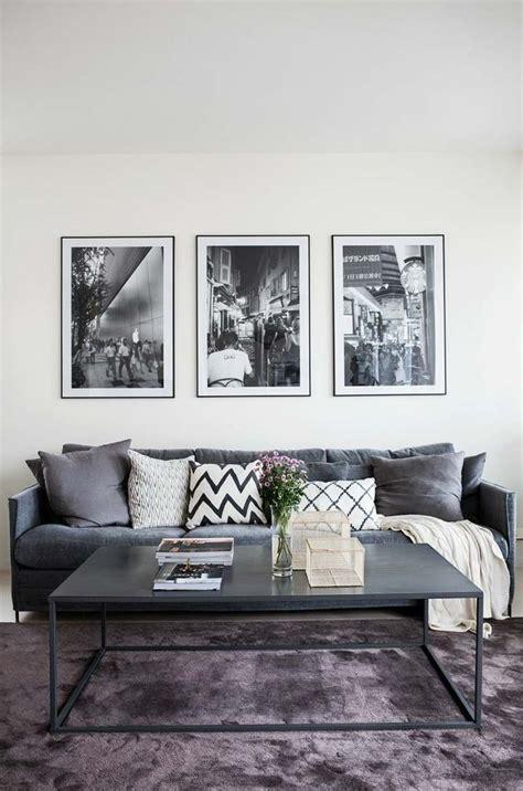 canapé noir et gris idee deco salon et gris