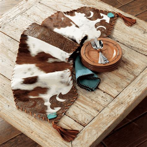 Cowhide And Turquoise Table Runner Medium Cowhide Table Runner