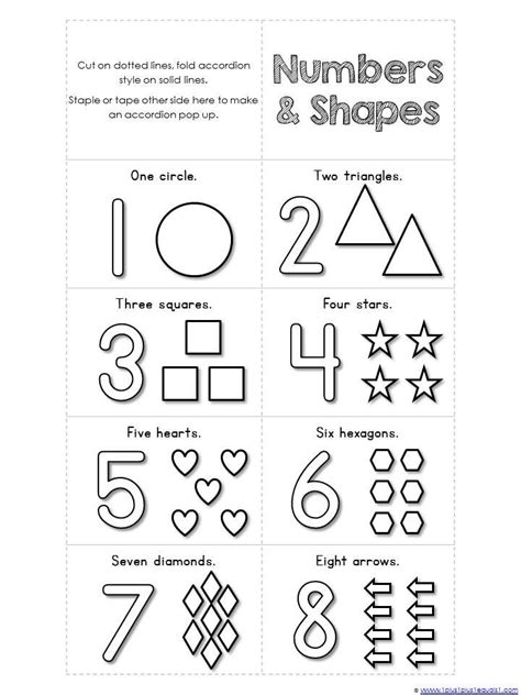 printable mini numbers numbers 1 10 and shapes mini accordion coloring book