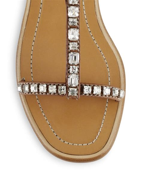 Prada Swarowski lyst prada swarovski leather sandals in brown