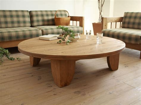 Solid Pine Wood Table Round 80cm Natural Painting Asian Solid Wood Living Room Tables