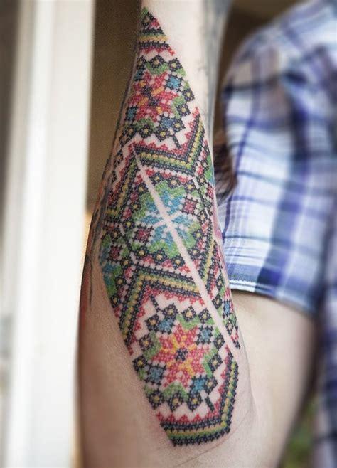tattooed cross stitch man 45 adorable outer forearm tattoos amazing tattoo ideas