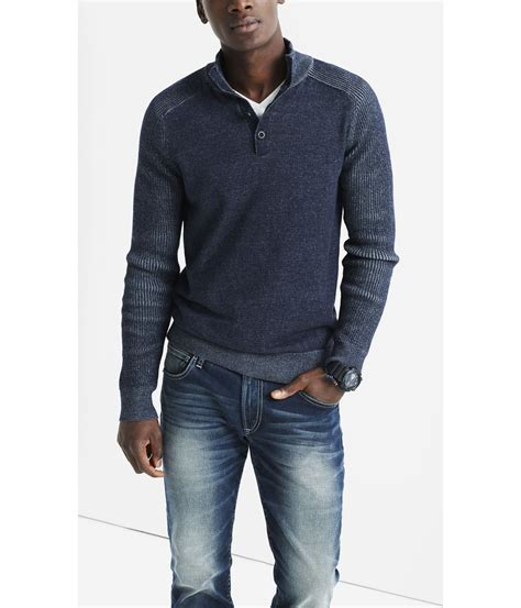 Sweater Button Navy 1 Express Button Mock Neck Plaited Sweater In Blue For