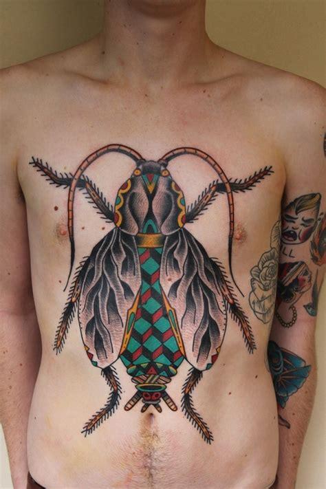 geometric insect tattoo bug pattern tattoo on chest cute tattoo