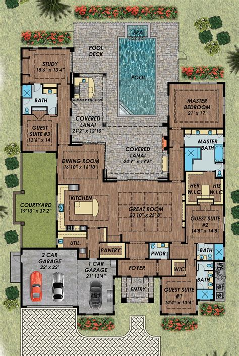 single level house plans with courtyard best 25 house plans with pool ideas on one