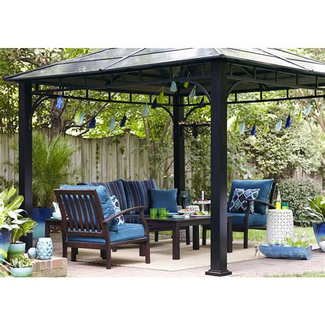 gazebo shop shop allen roth black square grill gazebo at lowes