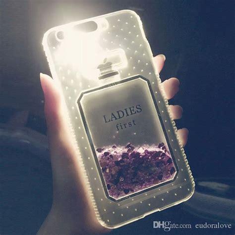 luxury perfume glitter liquid case  iphone     clear led flash light  tpu quicksand