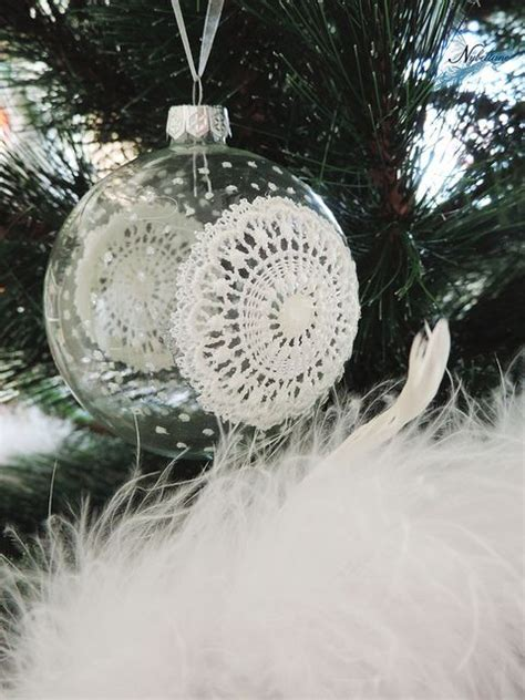diy lace christmas ornament winter christmas pinterest
