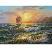 Tres Pintores Con Cuadros De Paisajes Del Oceano Al Atardecer