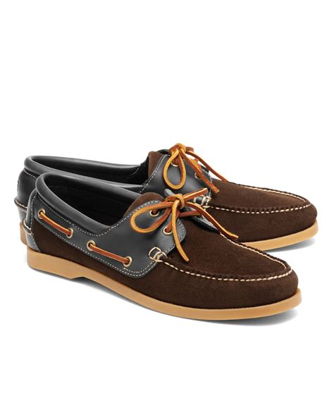 brothers shoes brothers suede and leather boat shoes in brown for