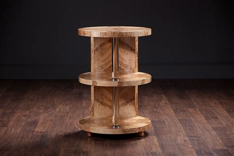 lawrie olive ash burl drum table traditional side olive ash burl wood three tier side table mecox gardens