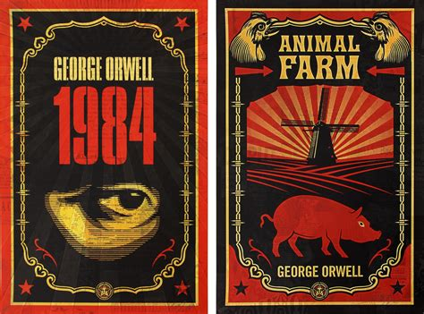 book report on animal farm by george orwell shepard fairey george orwell print set with books