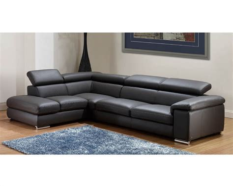 leather modern sectional modern leather sectional sofa set in dark grey finish 33ls131