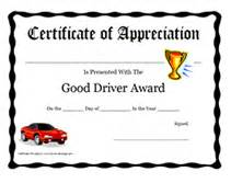 safe driving certificate template driver award certificate printable templates