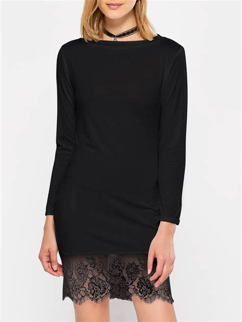 Lace Sleeve T Shirt Dress 2018 lace hem sleeve jersey t shirt dress black s in