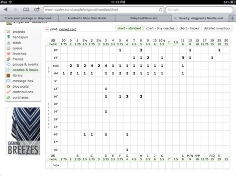 knitting needle inventory chart original or knot august 2013