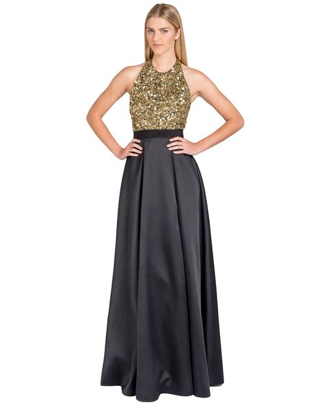 T2b Spotting The Meister Club Wear by Badgley Mischka Sequin Top And Skirt Evening Gown In