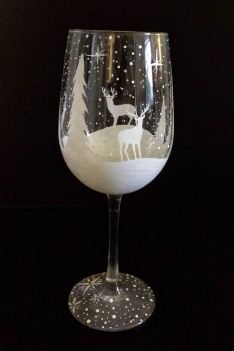 wine glass hand painted winter white reindeer deer snowy pine