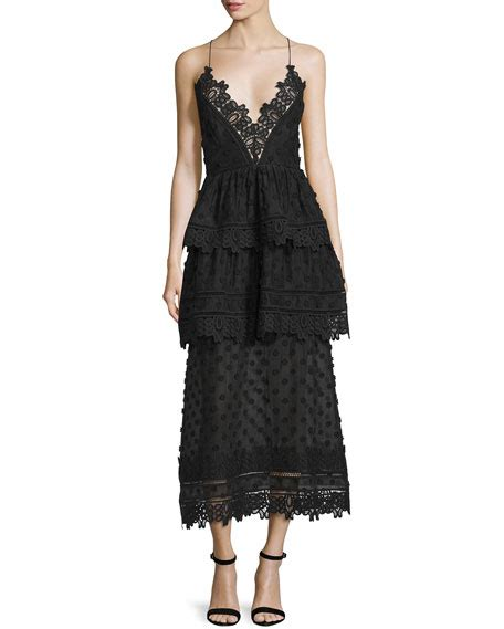 Dress Lace Polka self portrait sleeveless lace trim polka dot midi dress black