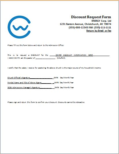 Request Letter Sle For Discount 15 Professional Business Form Templates For Word Word Document Templates