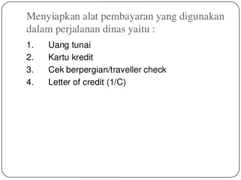 Letter Of Credit Kredit perjalanan dinas pimpinan ppt