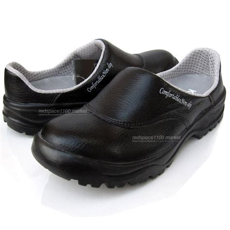 Sandal Gaul Anti Selip mens chef shoes leather non slip safety for cook poly sheet toe cap black color ebay